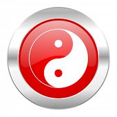 ying yang red circle chrome web icon isolated