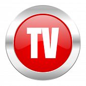 tv red circle chrome web icon isolated
