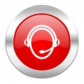 customer service red circle chrome web icon isolated