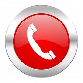 phone red circle chrome web icon isolated