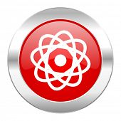 atom red circle chrome web icon isolated