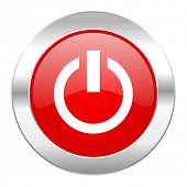 power red circle chrome web icon isolated