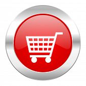 cart red circle chrome web icon isolated