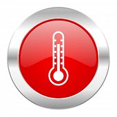 thermometer red circle chrome web icon isolated