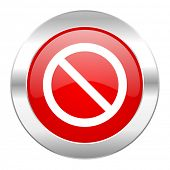 access denied red circle chrome web icon isolated