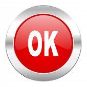 ok red circle chrome web icon isolated