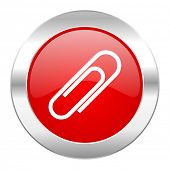 paperclip red circle chrome web icon isolated