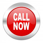 call now red circle chrome web icon isolated