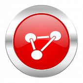 chemistry red circle chrome web icon isolated