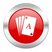 card red circle chrome web icon isolated