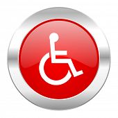wheelchair red circle chrome web icon isolated