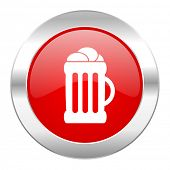 beer red circle chrome web icon isolated