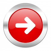 right arrow red circle chrome web icon isolated