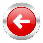 left arrow red circle chrome web icon isolated