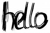 Hello Hand Lettering. Handmade Calligraphy. Vector