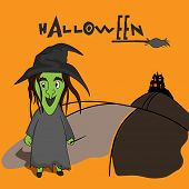 Scary ghost wearing witch hat with hauted house, stylish Halloween text and horn broom on orange background.