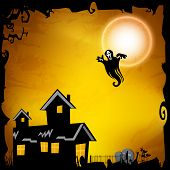 Halloween night poster, banner or flyer design with haunted house and ghost.