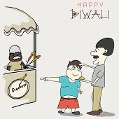 Diwali celebration concept with a cute little boy asking to his father for purchasing crackers on light grey background.