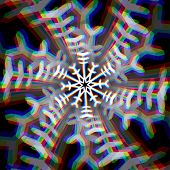 Christmas snowflake sign with aberrations