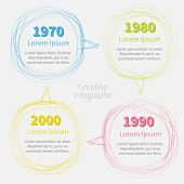 Timeline Infographic With Scribble Speech Bubble And Text. Template. Flat Design.