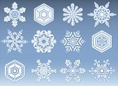 stock photo of modifier  - Set of 12 natural looking snowflake icons - JPG