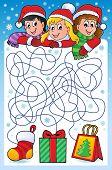 Maze 10 with Christmas theme - eps10 vector illustration.