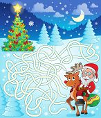 Maze 12 with Santa Claus and deer - eps10 vector illustration.