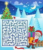 Maze 3 with Santa Claus and gifts - eps10 vector illustration.