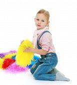 stock photo of montessori school  - Little girl with multi - JPG