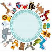 Set Of Funny Cartoon Animals Character On A White Background Walking Around Globe. Frame For Your Te