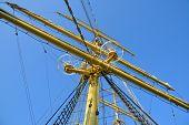 The mast of a sailing ship