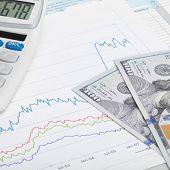 Stock Market Graph With 100 Dollars Banknote And Calculator
