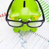 Green Piggy Bank Over Stock Market Chart - View From Top
