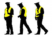 Traffic officer in uniform on white background