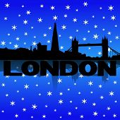 London skyline reflected with snow illustration