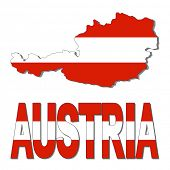 Austria map flag and text illustration