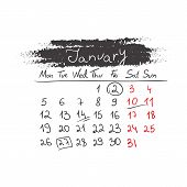 Handdrawn calendar January 2015. Vector.