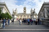 ROME, ITALY - SEPTEMBER 24, 2014: Ramped staircase leading to Capitoline Hill, Piazza del Campidoglio.