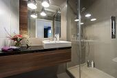 foto of tub  - Modern luxury bathroom with shower in european style - JPG