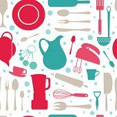 Seamless colorful kitchen pattern