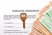 Sublease agreement with euro notes and key.