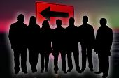 foto of por  - Illustration of  business team silhouettes  against sign background - JPG