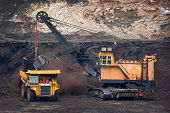 big mining truck unload coal in coal mine