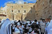 JERUSALEM, ISRAEL - SEPTEMBER 20, 2013: Morning Sukkot.  The Western Wall of the Temple in Jerusalem. Many religious Jews in traditional robes tallit gathered for prayer.