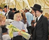 JERUSALEM, ISRAEL - SEPTEMBER 18, 2013: Big market on the eve of the Jewish holiday of Sukkot. The boy - teenager with long blond hair and a black velvet skullcap sells ritual plants