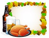 Beer And Fried Chicken With Autumn Leaves