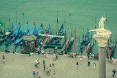 Venice, Italy,august 9, 2013: Gondolas Wait For Passengers At Plaza San Marco