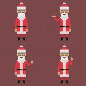 Santa Claus indicates in different poses