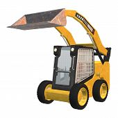 foto of skid-steer  - 3D digital render of a skid steer loader isolated on white background - JPG