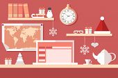 pic of workstation  - holiday vector illustration - JPG